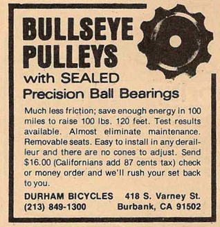 Durham Bicycles ad for Bullseye Pulleys