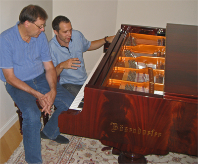 Tom and Jan fine tuning my Imperial Piano