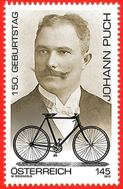 Austrian postage stamp commemorating Puch's 150th birthday