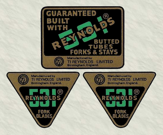 Reynolds 531 butted decals original