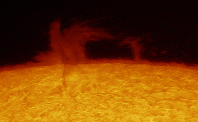 Sun loop Prominence as imaged by a DayStar QUANTUM PE Hydrogen Alpha Filter (110,780 bytes). Image courtesy of DayStar.