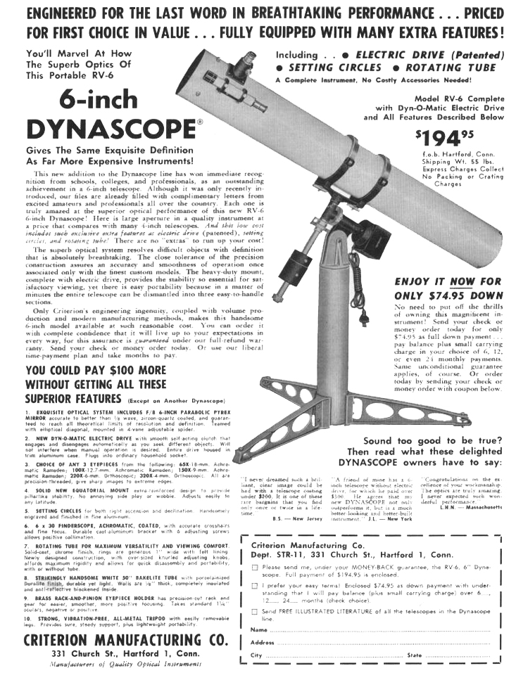 Criterion Dynascope RV-6 Telescope of 1960