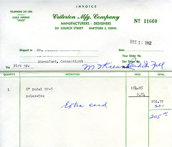 RV-6 Sales Invoice 1962