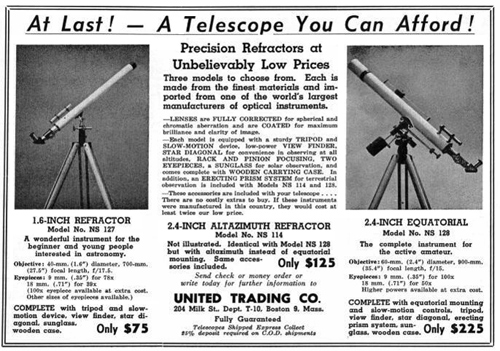 United Trading Co. telescope advertisement 1951 (116,544)