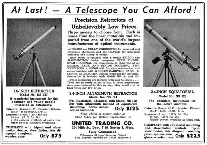 United Trading Co. telescope advertisement 1951 (192,267)