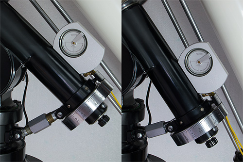 Unitron 3 inch Photo Equatorial telescope mount latitude fine adjustment mechanism (84,622 bytes)