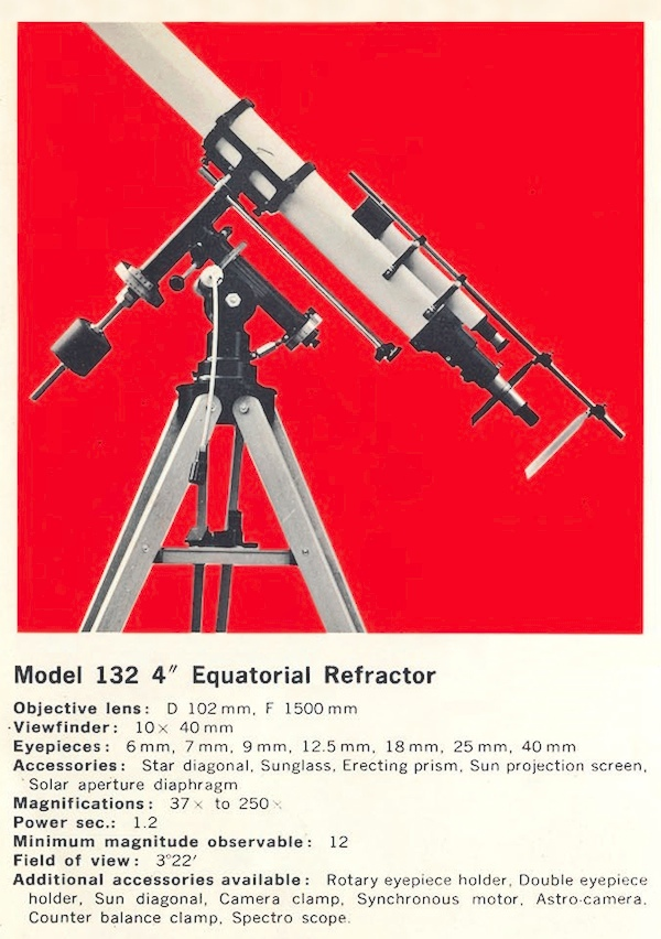 Unitron Model 132 - 4 inch Equatorial telescope from Seiko Scope Catalog (54,097 bytes)
