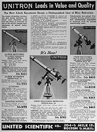 Unitron Advertisement of May 1953 introducing the 4-In Equatorial Telescopes (34,063 bytes)