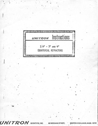Unitron 2.4 to 4 inch Telescope Manual 11 pages 1965 (12,670 bytes)