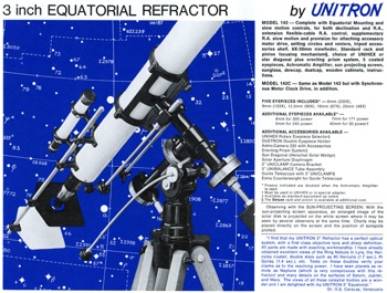 Unitron Model 142 - 3 inch Equatorial telescope from 1972 Catalog (54,097 bytes)