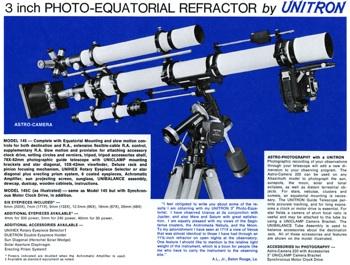 Unitron Model 142 - 3 inch Equatorial telescope from 1972 Catalog (50,907 and 261,476 bytes)