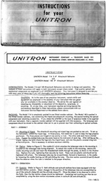 Unitron Model 114 Telescope Instruction Manual 1st Page (93,090 bytes)