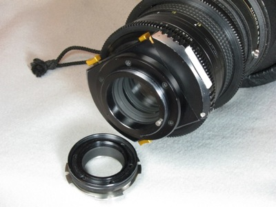 Century modified Nikkor 300 f/2 lens and camera adapter (40,991 bytes)