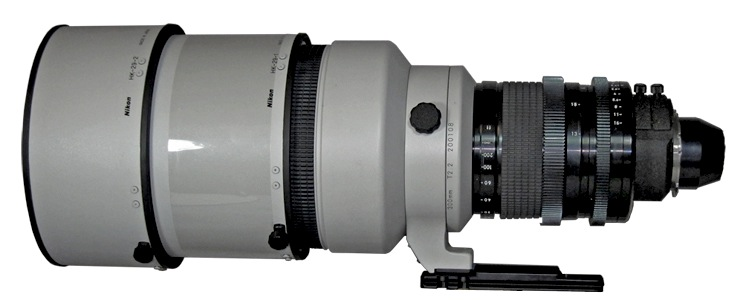 Tochigi Nikon 300mm T2.2 lens profile with HK-29 Lens Hood sections attached (73,301 bytes)