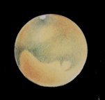 Mars as observed by Robert Kochenour through 102FL with TeleVue 9 Nagler ocular and 2X Barlow (200X), 20 Sept. 1988 3:45U.T. 21 Sept. Copy of pencil and pastel sketch.