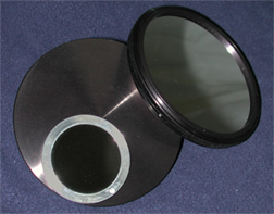 Questar 3-½ telescope Off Axis and Full Aperture Solar Filters in thread on Cell (24,054 bytes)