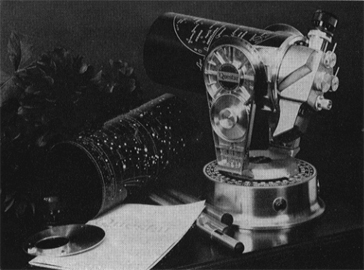 Questar Standard telescope of 1956 on tabletop, Solar Filter and Dew Shield at left (59,059 bytes)