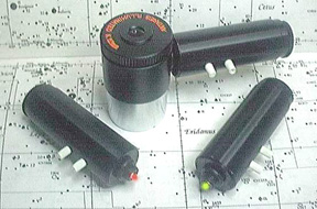 Above: Rigel Systems PulsGuide Illuminator (yellow at left, red at right), and optional Rigel Systems 12mm Kellner Guiding Reticle Eyepiece (30,099 bytes).