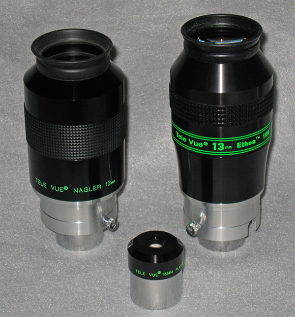 TeleVue 13mm Ethos with 13mm Plossl and 13mm Nagler eyepieces