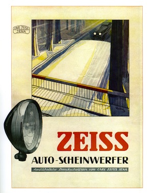 Zeiss automobile lights and spotlight poster of October 1929